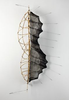 "Mo Kelman: Selfsame 2010 shibori dyed and shaped silk, bamboo 50"" X 27"" X 16"""