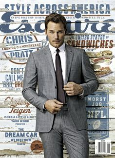 American actor Chris Pratt wearing grey Burberry tailoring on the September cover of Esquire Magazine