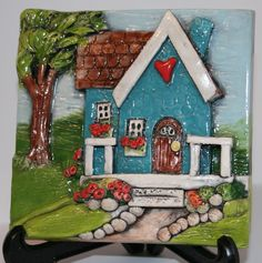 Clay Tile with Turquoise Blue Cottage Heart Home. $40.00, via Etsy. Beth Stuart Macre