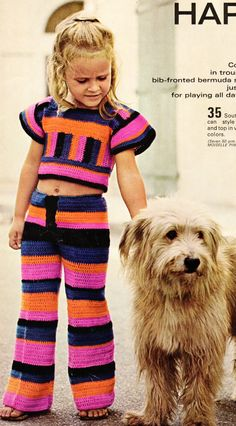 Vintage 70s Kids / Girls Mod Trouser Suit Crochet by DivineDigital. BTW, did ALL dogs look like this in the 70's?