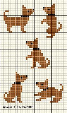 Small cross stitch dogs, free pattern by Les petits bonheurs de Miss T.