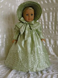 Regency silk coat and bonnet  by DollSizeDesigns