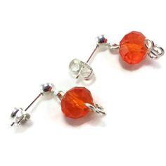 Celosia Orange MiniDangle Earrings  Handmade Glass by TheValetGirl