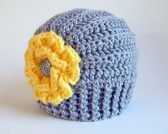 CROCHET PATTERN - Très Chic - a beanie hat with flower in 5 sizes (Baby - Adult). $5.50, via Etsy.