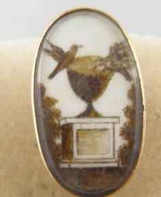 ANTIQUE GEORGIAN 14 KT GOLD SEPIA LOVE BIRDS MEMORIAL HAIR PAINTING BROOCH $345.00