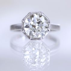 Victoria Solitaire engagement ring by Erika Winters • handcrafted in platinum with a 2.24-carat old European cut diamond
