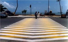 Carlos Cruz-Diez - Crosswalk, Couleur Additive, 1986. Intervention in urban spaces 1980-1989 series.  Cruz-Diez is one of the leading figures of the kinetic art. His plastic proposition reveals that he is one of the latest thinkers of the phenomenon of color. His investigation, based on three chromatic conditions: subtractive, additive and reflexive.