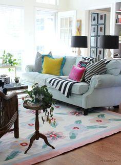 Hi Sugarplum   Colorful Living Room -- working around hand-me-down decor