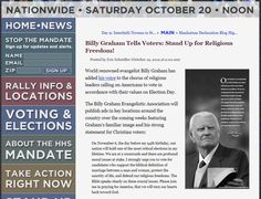 Billy Graham Tells Voters:Stand up for Religious Freedom...Click on photo to read more...Please vote on Nov 6th and Vote Biblical Values and PRAY that we remain one Nation Under GOD...