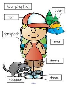 ***FREE*** 3 ways to label CAMPING KID: - cut and paste written labels on top of words; - cut and paste written labels on blank labels; - or write the words in the blank labels.