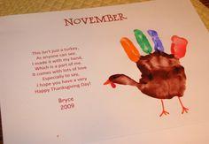 November turkey hand print poem keepsake