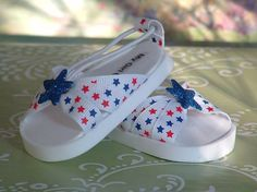 Red White and Blue Stars  Sandals for American Girl