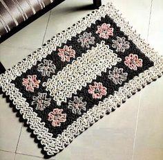 Pink Rose Crochês: Tapete de Crochê Flores em Ponto Wiggly