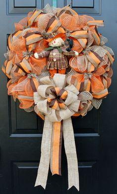 I love this fall deco mesh wreath!!