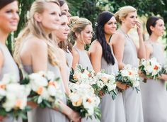 Highlight each bridesmaid with a different hair look: half-up, sideswept, or a topknot. via @stylemepretty