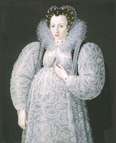 ca. 1595 Portrait of an Unknown Lady by Marcus Gheeraerts the Younger (Elizabethan maternity wear is shown)