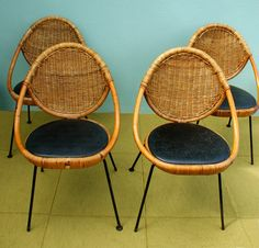 Vintage Mid Century Modern Salterini Rattan Egg Chairs