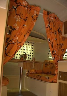 Privacy curtain, drop down table, upper storage