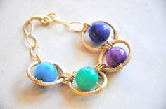 MultiColored Agate Chakra Bracelet by GoldenPlumeJewelry on Etsy