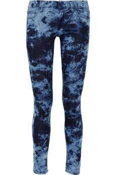 Mother The Looker printed low-rise skinny tie-dye jeans