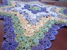 3D Star Shaped Rosette Tablecloth Lavender Green Yellow by Duvalls, $249.00
