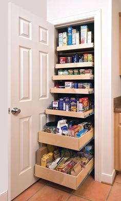 Pantry in a closet with pull out shelves.