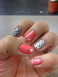 Do Tiffany pink with white dots on ring fingers with 2 small Mickey heads like these in black on the corner.