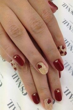 red and gold nail designs Red Nail Designs 2014 heart nails, gold nails, fashion beauty, red nails, valentine nails, black gold, nail design, nail art, heart designs