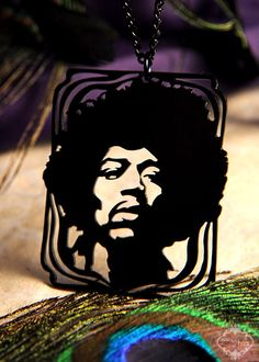 Jimi Hendrix tribute silhouette necklace in black stainless steel - men's music jewelry. $29.00, via Etsy.