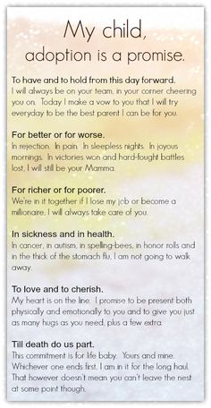 Adoption is a promise, a vow we make to our kids. #adoption #adoptionvows