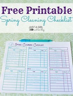 Free Printable Spring Cleaning Checklist by Just a Girl and Her Blog