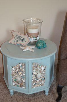 ~ sea blue table with shell mosiac ~