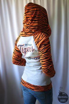 handmade DETROIT TIGERS hoodie shirt top