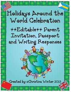 Holidays Around the World **Editable** Parent Invitation, Passport, and More!