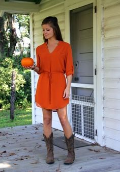 Ruth Dress #orange #pumpkin #fall #fashion #cowboyboots