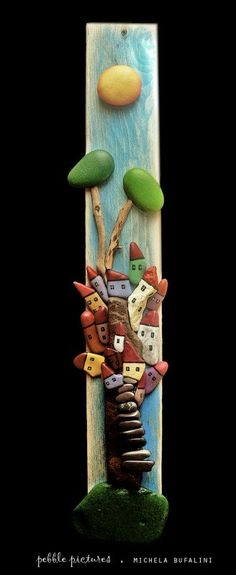 Pebble pictures in wood art  with Stone Painted Handmade Art