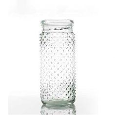 Clear glass hobnail vase.