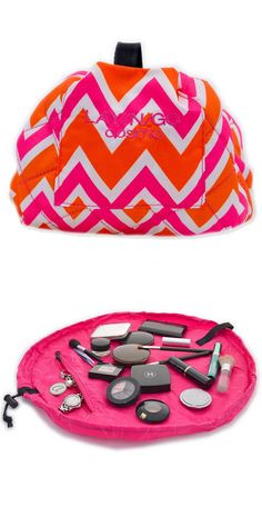 Lay-n-Go Chevron Cosmo Bag // Lays Flats for Easy Access & With A Simple Pull of String it Closes for Easy Transport #toys #makeup #tools