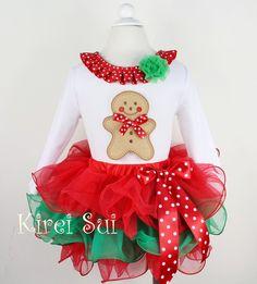 Girls KS Red Green Petal Pettiskirt Plus Christmas Gingerbread Man White Long Sleeves Top