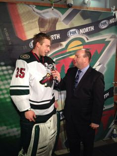 Kuemper with @Robert Sports North's Kevin Gorg after the game.