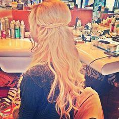 blonde braided half up