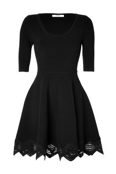 PRABAL GURUNG Cashmere-Wool Lace Trim Dress in Black