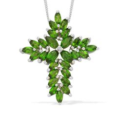 Liquidation Channel: Russian Diopside and Diamond Pendant with Chain (20 in) in Platinum Overlay Sterling Silver (Nickel Free)