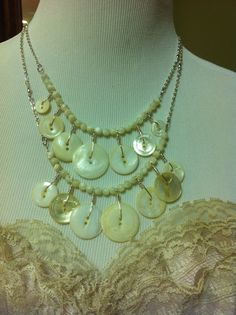 Vintage White Button Necklace with Antique by LilyHillVintage, $19.00