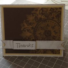 "Card Stock: Very Vanilla, So Saffron, Soft Suede / Ink: Soft Suede, Bleach / Cool Tools: 1 1/4"" Square Punch / Stamp: So Much, Medallion"