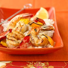 The shrimp and sweet peppers are sprinkled with Parmesan cheese before grilling. The coating develops a toasty, almost nutty taste that goes beautifully with the sweet shrimp.