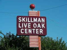 Skillman Live Oak Center, a great vintage neon sign for an ordinary strip mall in Dallas, Texas.