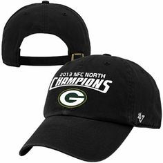 '47 Brand Green Bay Packers 2013 NFC North Division Champions Clean Up Adjustable Hat - Black