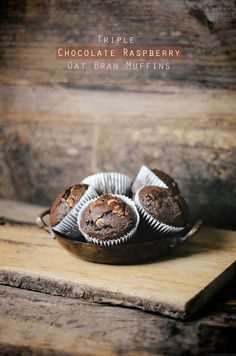 Triple chocolate raspberry oat bran muffins by abrowntable, via Flickr