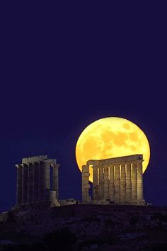 Moon Over Sounion, Greece